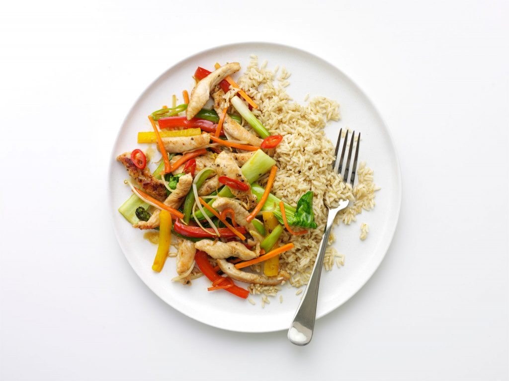 Kung po Turkey stirfry with steamed brown rice
