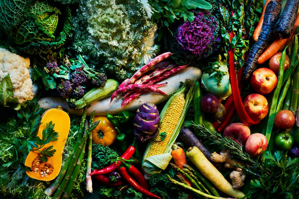 colourful array of fruit and vegetables