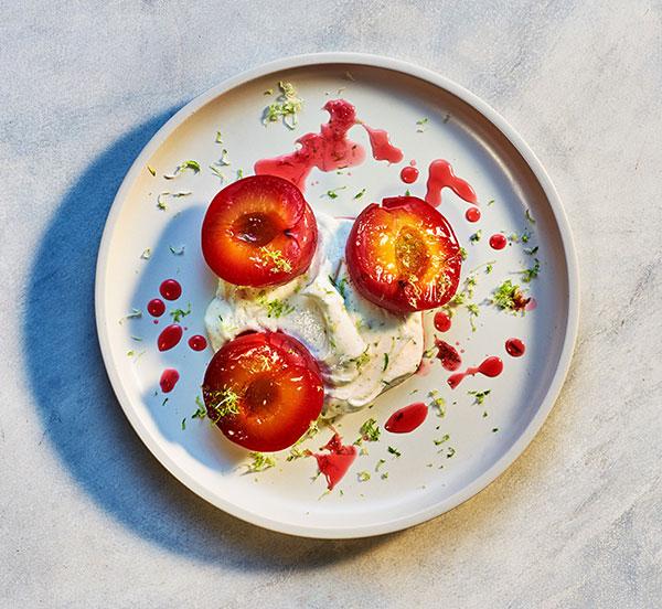 plate of roasted plums and vanilla yoghurt