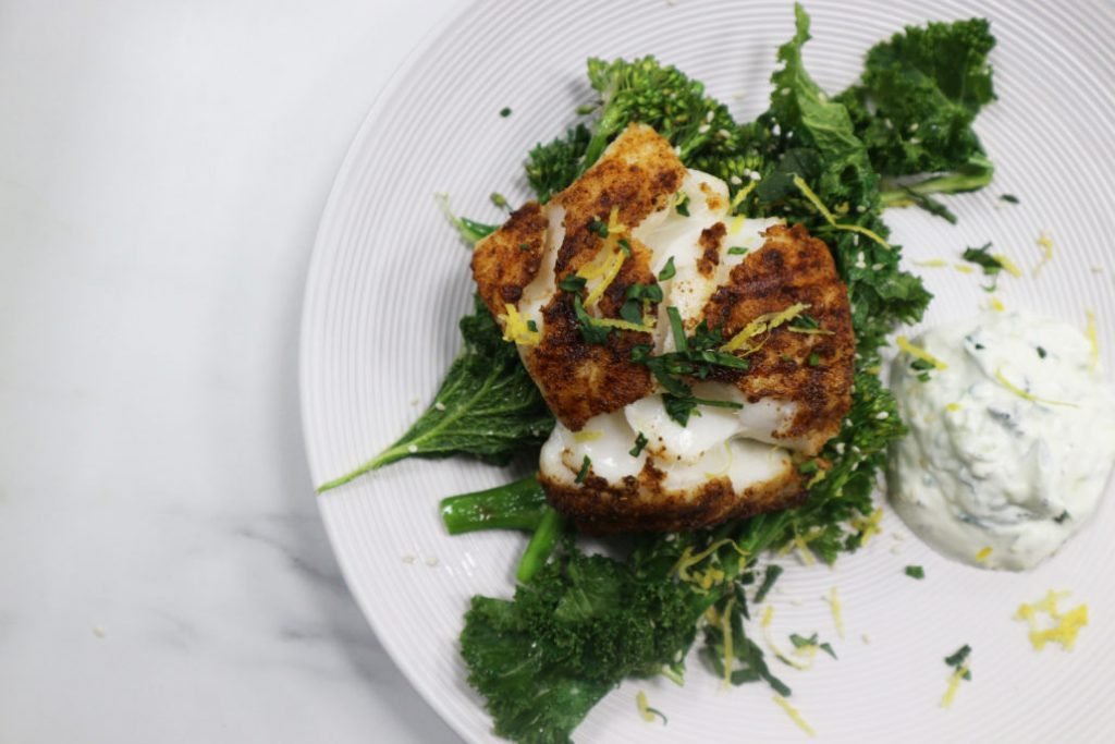 Greek style cod on a plate