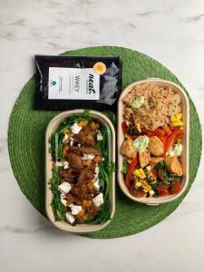meals in tubs with protein sachet