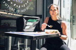 Woman Eating Fresh Fitness Food